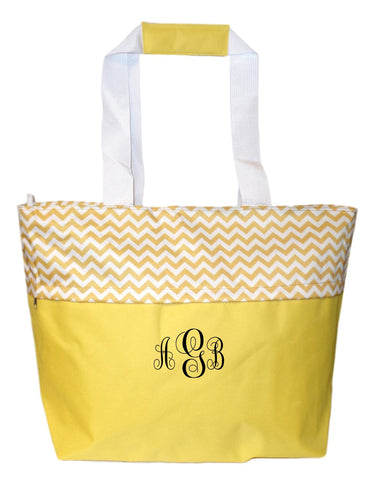 Jumbo Zipper Top Summer Beach Tote Bag - Personalization Available (Golden Yellow Embroidery Monogram)