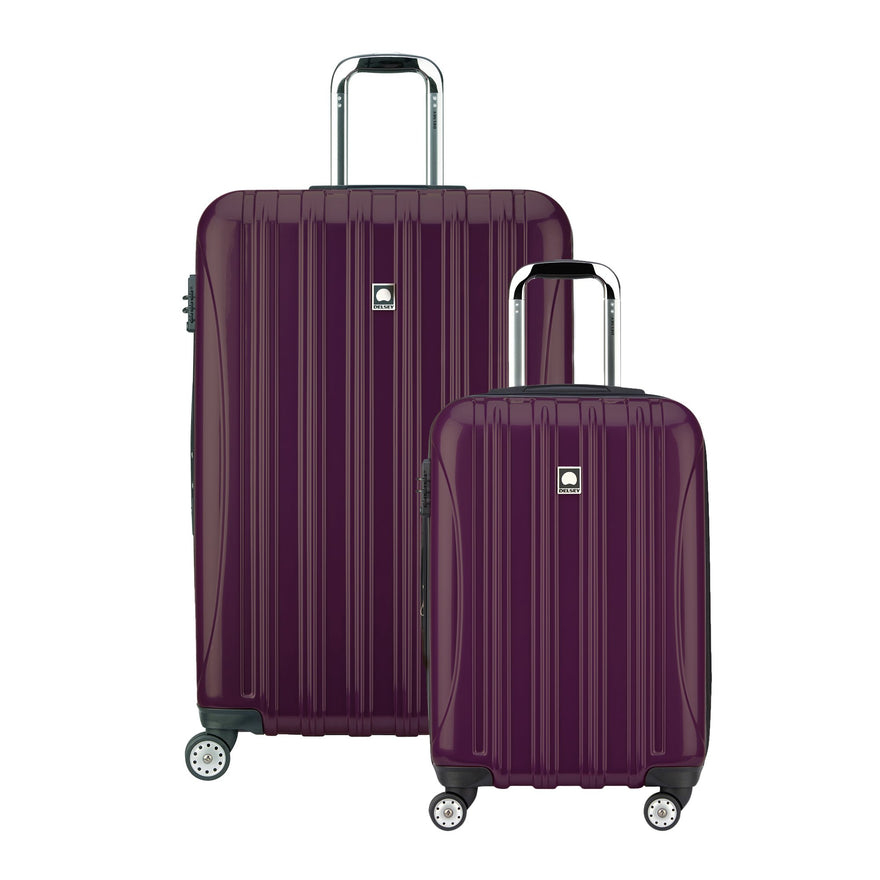 "Delsey Luggage Helium Aero Spinner Luggage Set (21""/29""), Plum"