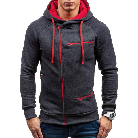 LIM&SHOP Men's Heavy Blend Fleece Hooded Sweatshirt, Contrast Raglan Long-Sleeve Pullover Hoodie with Pockets Zipper