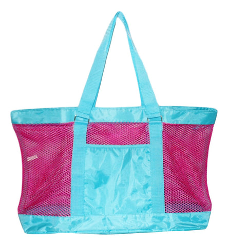 Super Large Mesh Tote Beach Bag - 24 x 15 x 6 - Can be Personalized (Blank Pink/Aqua)