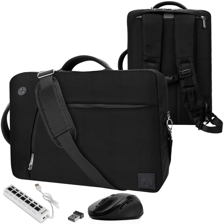 VanGoddy Slate Black Convertible Laptop Bag with USB Hub and Mouse for Razer Blade Stealth 13