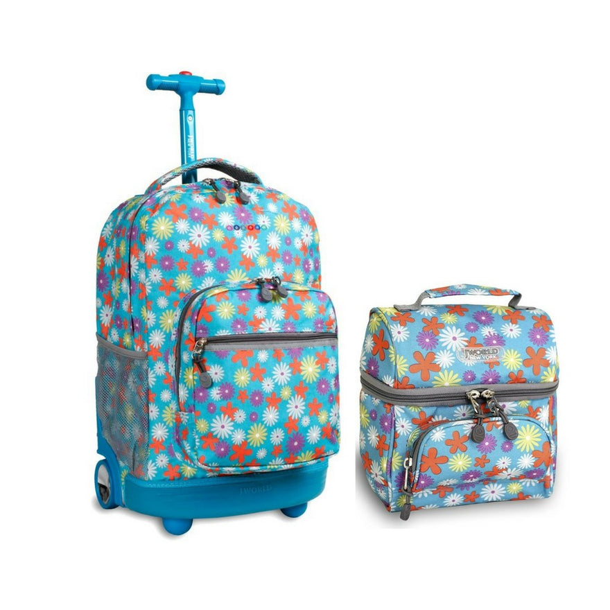 J World Combo Rolling Backpack & Lunch Bag Back to School Bundle Set Sunrise / Corey (Spring)