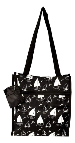 12 in by 13 in Tote Bag w/Mesh Water Bottle Pocket (Sailboat)