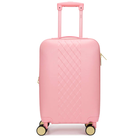 Badgley Mischka Diamond Hard Expandable Spinner Carry-on Suitcase (Pink)