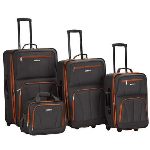 Rockland Luggage 4 Piece Set, Charcoal, One Size