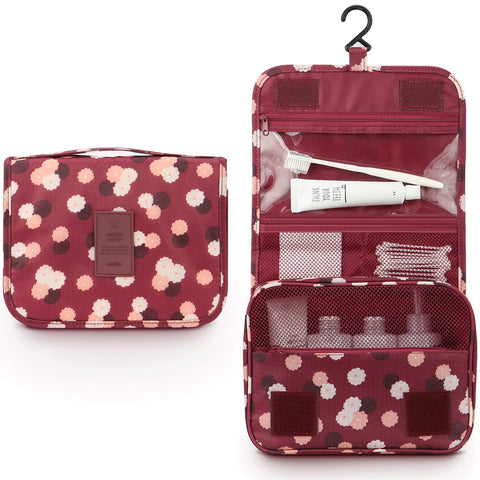 Mens Toiletry Bag,Mossio Ladies Spacious Strong Zippers Household Makeup Train Case Wine Flower