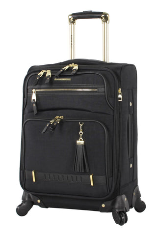 "Steve Madden Luggage Carry On 20"" Expandable Softside Suitcase With Spinner Wheels (20in, Peek-A-Boo Black)"