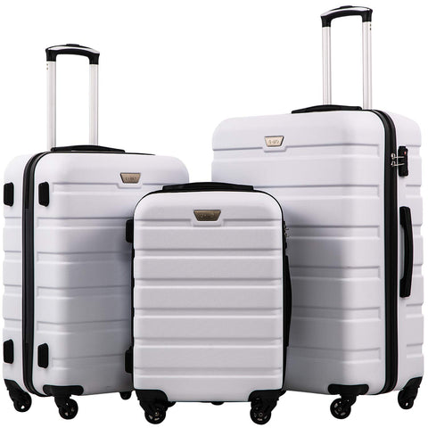 Coolife Luggage 3 Piece Set Suitcase Spinner Hardshell Lightweight TSA Lock 4 Piece Set (White)