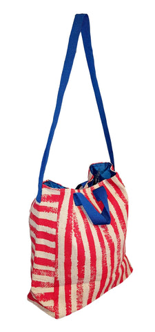 101 BEACH - 2 IN 1 Cross-Over Large Tote Bag - Custom Embroidery (Red Stripe - Blue Trim)