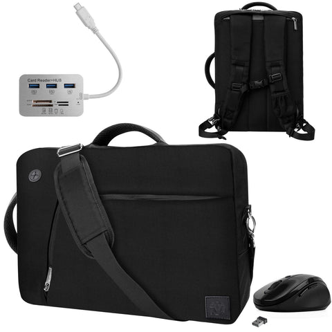 "Black Convertible Laptop Bag, USB Hub, Mouse for Microsoft Surface Pro X 13"" 7, 6 12.3"", Book 2 Laptop 2 3 13.5"" 15"""