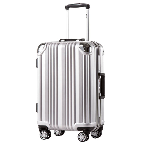 Coolife Luggage Aluminium Frame Suitcase with TSA Lock 100% PC (M(24in), Silver)