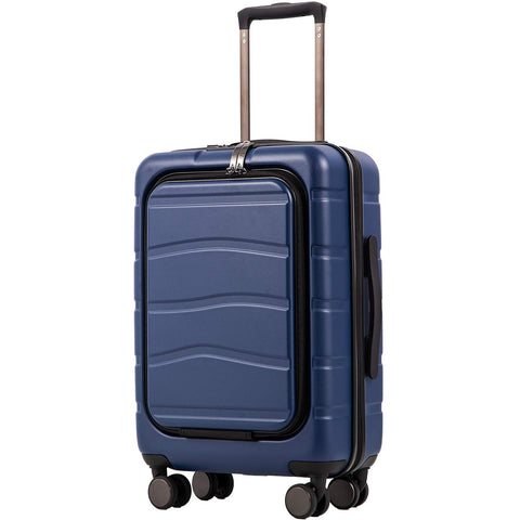 COOLIFE Luggage Suitcase Carry On 100% PC Spinner Trolley with Laptop pocket Compartmnet Luggage Set (business blue, 20in(carry on))