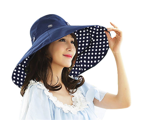 2 in 1 Anti-UV Sun Protective Reversible Beach Sun Hat Floppy Bucket Hat UPF 50