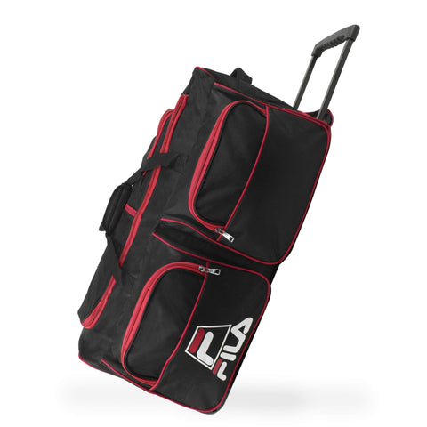 "Fila 30"" 8-Pocket Rolling Duffel, Black/Red, One Size"