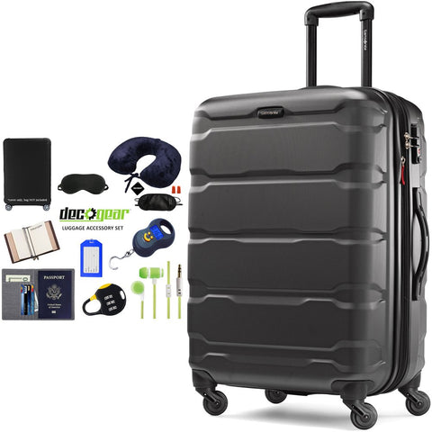 "Samsonite Omni Hardside Luggage 28"" Spinner Black (68310-1041) with Deco Gear Ultimate 10pc Luggage Accessory Kit"