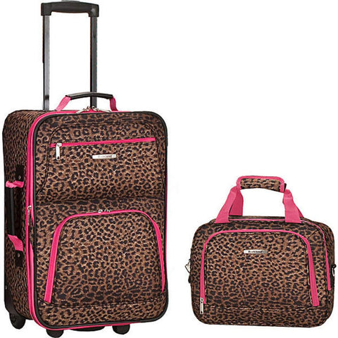 Rockland 2 Piece Luggage Set Pink Leopard