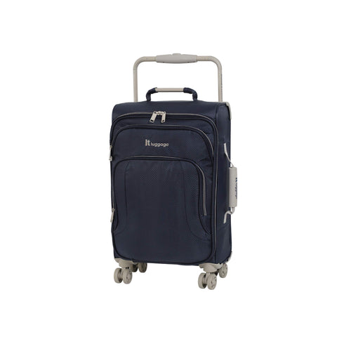 "IT Luggage 22"" World's Lightest 8 Wheel Spinner, Evening Blue With Cobblestone Trim"