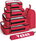 Veken 6 Set Packing Cubes, Travel Luggage Organizers with Laundry Bag and Shoe Bag(Red)