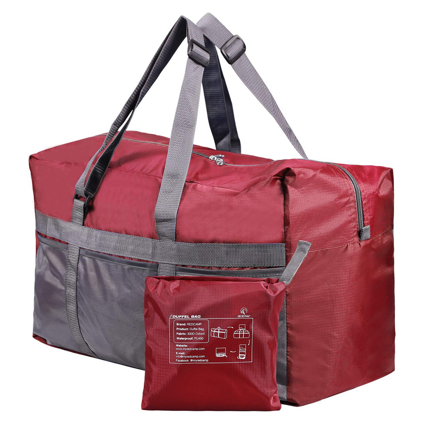REDCAMP 75L Extra Large Duffle Bag Lightweight, Water Resistant Travel Duffle Bag Foldable for Men Women, Wine Red