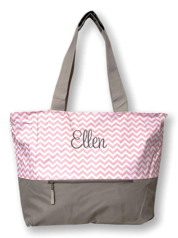 XL Beach Tote Chevron Print Weekender Bag with Mesh Webbed Handles and Outer Zippered PocketCan Be Personalized (Personalized, Pastel Pink)