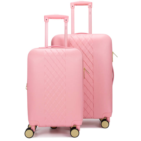 "Badgley Mischka Diamond Hard Expandable Spinner Luggage Set (2 Piece) (Pink, 20""/24"")"