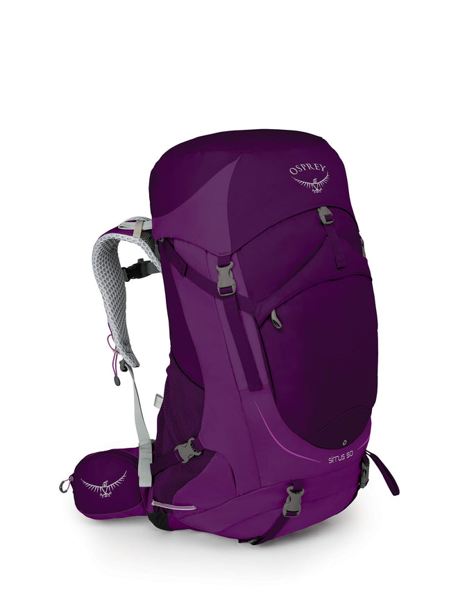 Osprey Packs Sirrus 50 Women's Backpacking Backpack, Ruska Purple, X-Small/Small