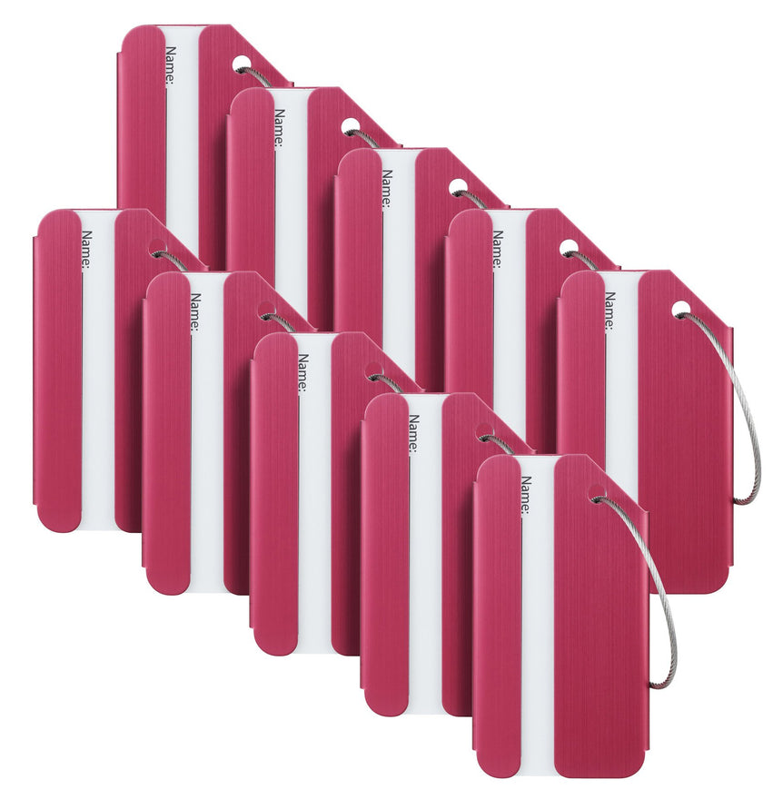 Travelambo Luggage Tags & Bag Tags Stainless Steel Aluminum Various Colors (wine red 10 pcs set)