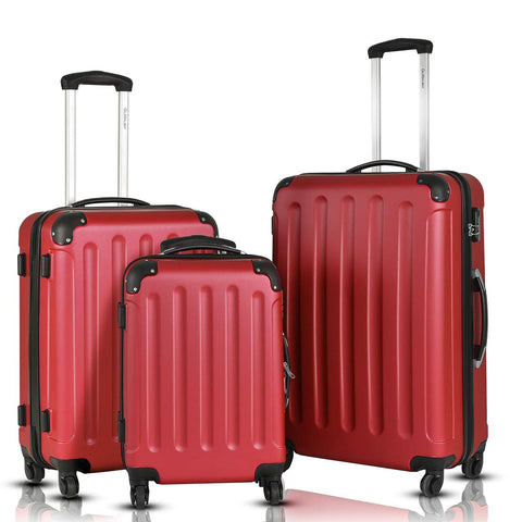 Goplus 3Pcs Luggage Set, Hardside Travel Rolling Suitcase, 20/24/28 Rolling Luggage Upright, Hardshell Spinner Luggage Set with Telescoping Handle, Coded Lock Travel Trolley Case (Wine)