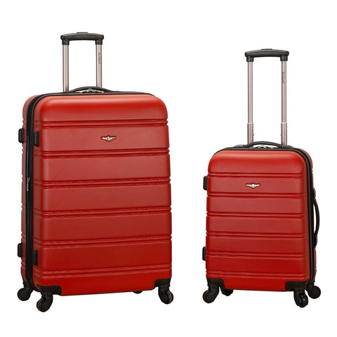 Rockland Luggage 20 Inch and 28 Inch 2 Piece Expandable Spinner Set, Red