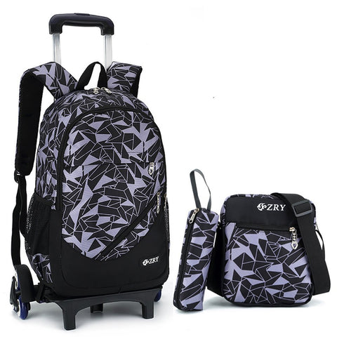 Meetbelify 3pcs Kids Rolling Backpacks Luggage Six Wheels Trolley School Bags (Black with 6 wheels)