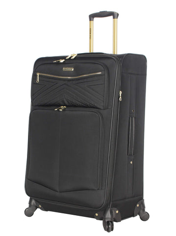 "Steve Madden Luggage Large 28"" Expandable Softside Suitcase With Spinner Wheels (Rockstar Black, 28in)"
