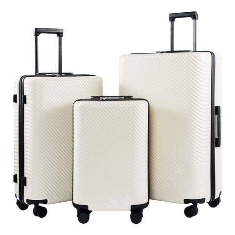 Coolife Luggage 3 Piece Sets PC+ABS Spinner Suitcase carry on Fashion (White, One_Size)