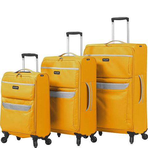 Mia Toro Bernina Softside Spinner Luggage 3 Piece Set, Yellow