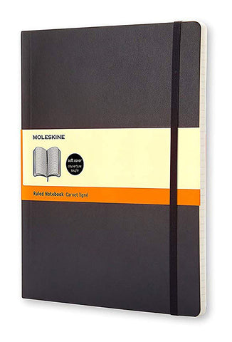 "Moleskine Classic Notebook, Soft Cover, XL (7.5"" x 9.5"") Ruled/Lined, Black"