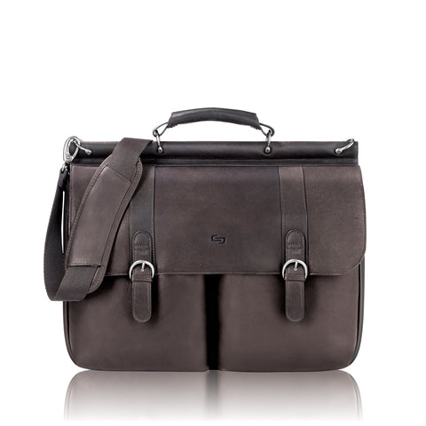 Solo Warren 16 Inch Leather Laptop Briefcase, Espresso