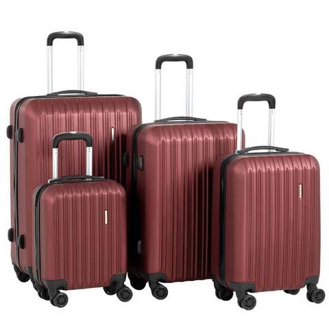 "Murtisol 4 Pieces ABS Luggage Sets Hardside Spinner Lightweight Durable Spinner Suitcase 16"" 20"" 24"" 28"", 4PCS Wine Red"