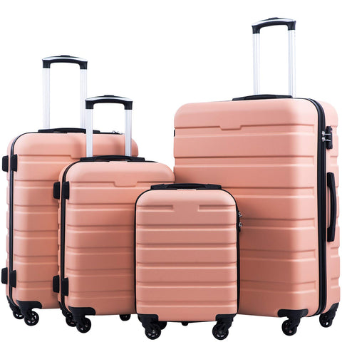 Coolife Luggage 3 Piece Set Suitcase Spinner Hardshell Lightweight TSA Lock 4 Piece Set (Family Set-Sakura Pink)