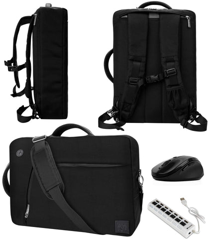 "VanGoddy Slate Black Convertible Laptop Bag with USB Hub and Mouse for MSI Shadow GS30 13.3"", P PS42 14"""