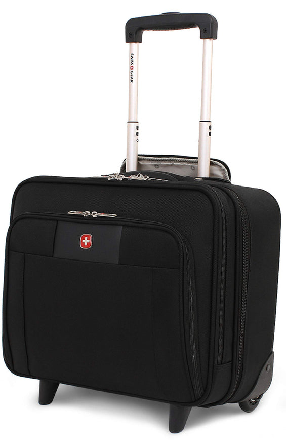 "SWISSGEAR 8869 DURABLE ULTRA PORTABLE 16"" ROLLING TOTE - BLACK"