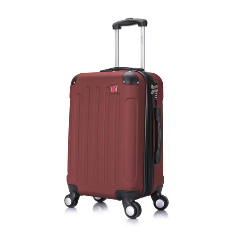 DUKAP Luggage - Intely Collection - Hardside Spinner 20'' inches carry-on with USB port (Wine) - Suitcases with Wheels