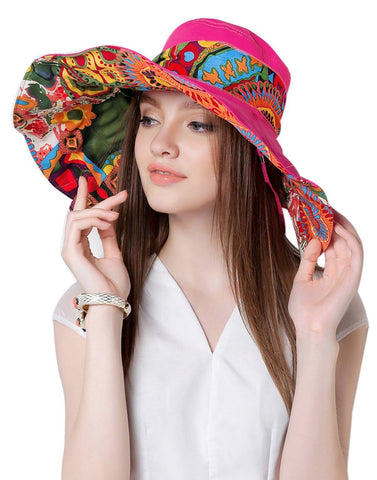 Fakeface Women Ladies Floral Large Brim Floppy Hat Foldable Anti-UV Summer Bucket Hat Holiday Travel Shopping Camping Beach Sun Hats Cap Topee UPF 50+ Rose