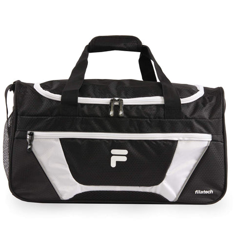 Fila Cannon 3 Small Duffel Gym Sports Bag, Black/White, One Size