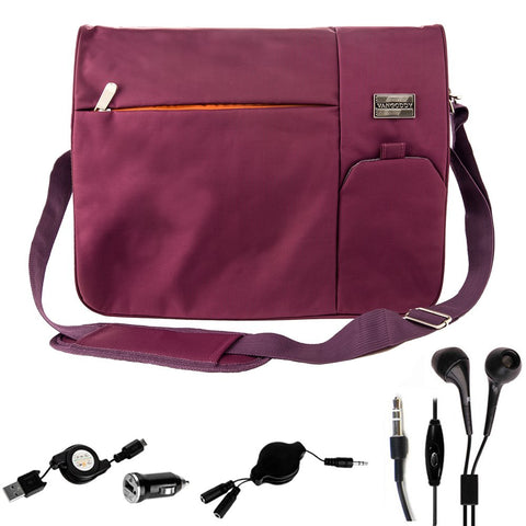 Vangoddy Purple Durabel Nylon Bag for Fujitsu Lifebook, Stylistic 12.5, 13.3, 14, 15.6 inch Laptop Combo with Headphone Splitter Cord and Micro USB Cable and Mini USB Car Charger