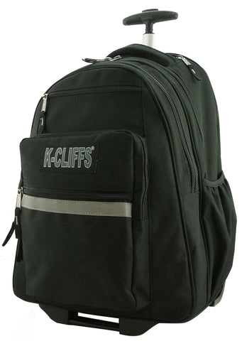 K-Cliffs Heavy Duty Rolling Backpack School Backpacks with Wheels Deluxe Trolley Book Bag Wheeled Daypack Workbag Multiple Pockets Bookbag with Safety Reflective Stripe Black