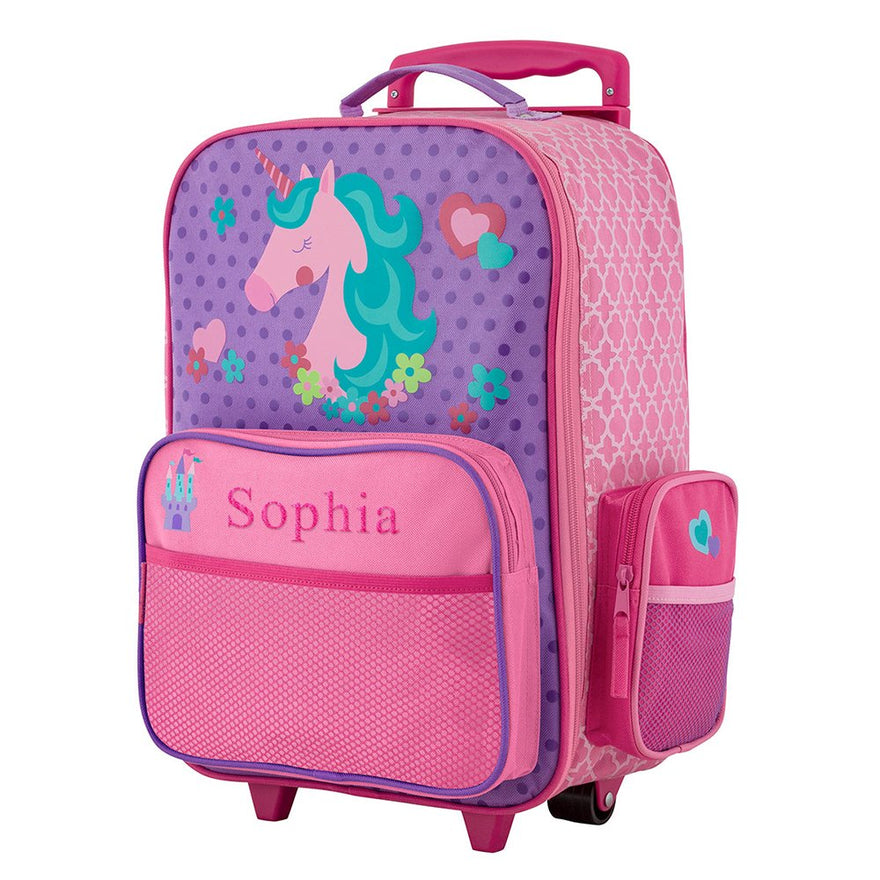"GiftsForYouNow 2-Wheel Personalized Unicorn Rolling Luggage Bag, 14.5"" x 18"""
