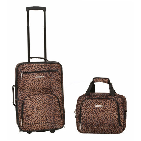 Rockland Printed 2 PC LEOPARD LUGGAGE SET