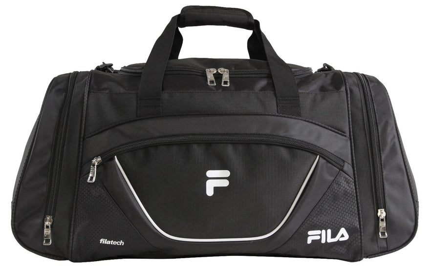 Fila Acer Large Sport Duffel Bag, Black/White, One Size