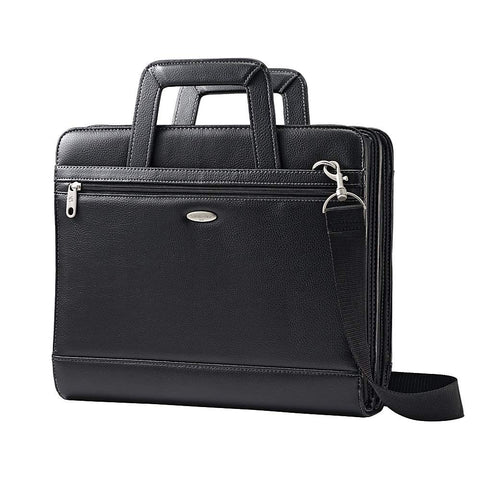 "Samsonite Vinyl 3-Ring Padfolio with Handles and Shoulder Strap, 14""H x 12""W x 3 1/2""D, Black"