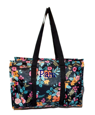 Fashion Print Zip Top Organizing Beach Bag Tote Diaper Bag Weekender - Can Be Personalized (Personalized Black Floral)