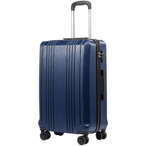 Coolife Luggage Expandable Suitcase PC+ABS with TSA Lock Spinner 20in 24in 28in (navy, S(20in_carry on))